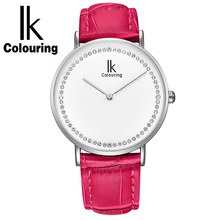 hot deal buy ik colouring women's leather band anolog quartz fashion watch womens watches top brand luxury with gift box
