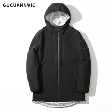 Hooded simple thick cotton men winter coat high quality windproof black mens jackets brief casual mens winter parkas pocket