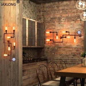 Image 5 - Punk de vapor loft industrial ferro ferrugem tubulação água retro lâmpada parede do vintage e27 arandela luzes para sala estar restaurante quarto barra