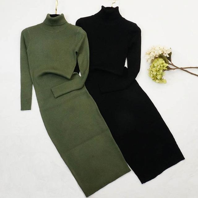 Новый осень-зима женское вязаное платье-свитер с высоким, плотно облегающим шею воротником платья леди тонкое облегающее платье с длинным рукавом, на пуговицах, для девочек платье Vestidos PP003