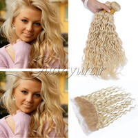 Guanyuhair 613 Blonde Peruvian Water Wave Bundles With Frontal Pre Plucked Remy Human Hair Extensions Natural Hairline Free Part
