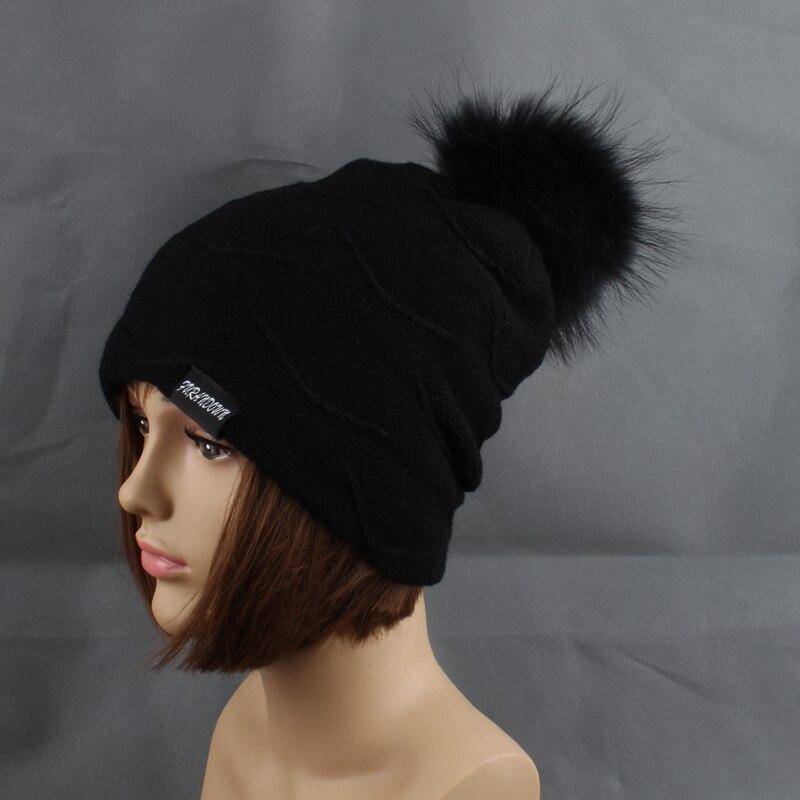2019 Womens Topi Bulu Hangat Di Dalam Topi Beanie Gadis Musim Dingin - Aksesori pakaian - Foto 3