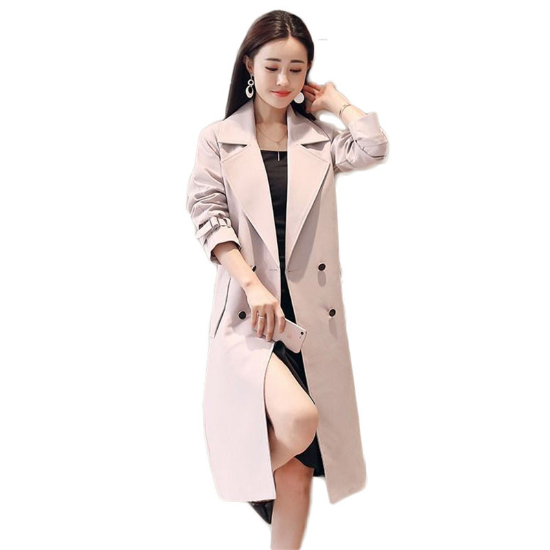 2019 Fashion Spring Autumn Women Turn-Down Collar Trench Coat Female Double Breasted Solid Long Overcoats Casaco Feminino M205