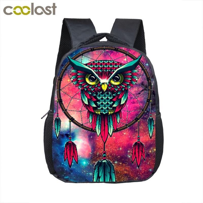 12 Inch 3D Print font b Backpack b font Cartoon Owl Dream Catcher School font b