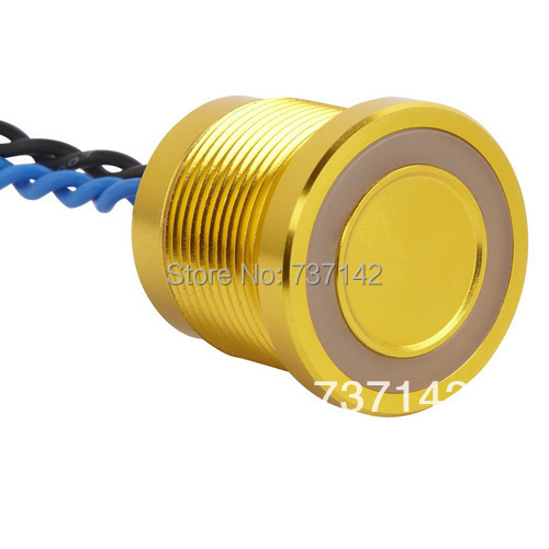 ELEWIND Gold aluminum anodized piezo push switch (19mm,PS193P10YGD1B24L,Rohs,CE) elewind 22mm ring illuminated piezo switch 22mm ps223p10yss1b24t rohs ce
