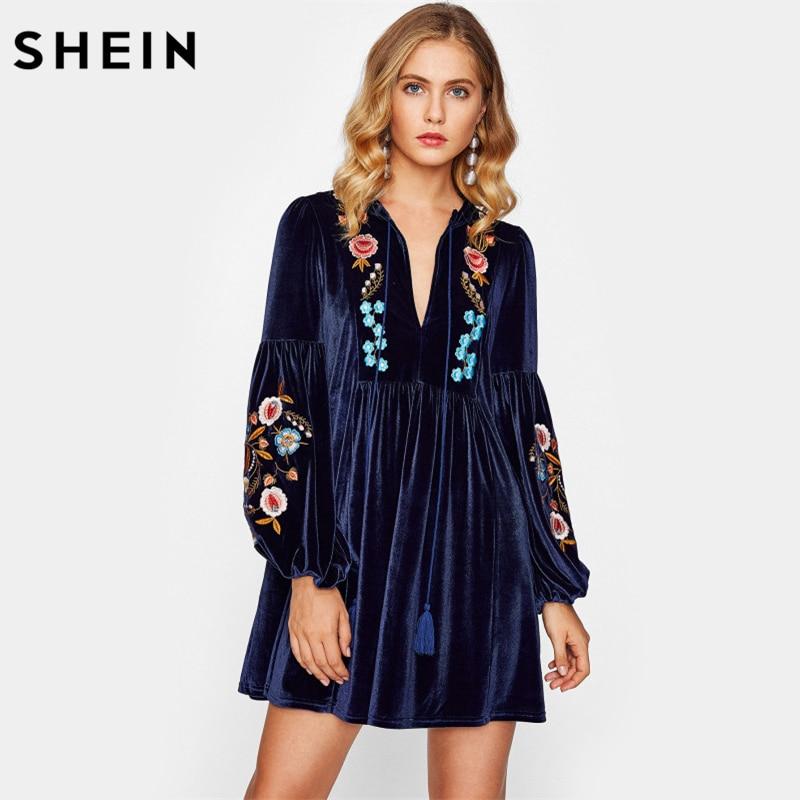 SHEIN Tasseled Tie Bishop Sleeve Embroidery Velvet Dress Navy Long Sleeve V Neck A Line Dresses