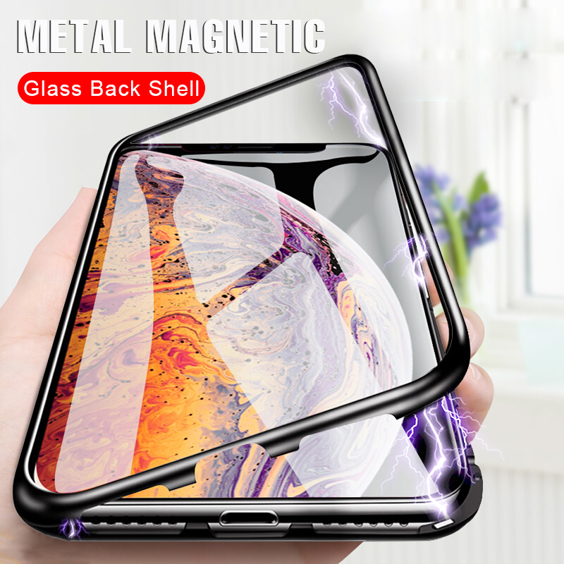 Magnetic Metal Phone Case On The For iphone 6 6s 7 8 PLus Shockproof Full Cover For iphone X XR XS Max Tempered Glass Back Case()