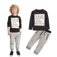 Повседневные детские комплекты одежды для мальчиков Одежда для маленьких мальчиков Новинка года, весенне-осенняя хлопковая длинная футболка+ штаны комплекты из 2 предметов для От 3 до 7 лет