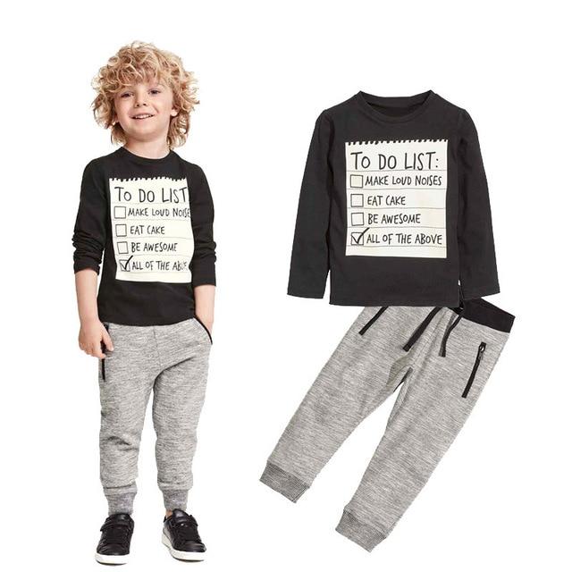 59652aaa6 Conjuntos de ropa Casual para niños y niños ropa de bebé 2019 nueva  primavera otoño algodón camiseta larga + Pantalones 2 piezas trajes para  3-7 ...