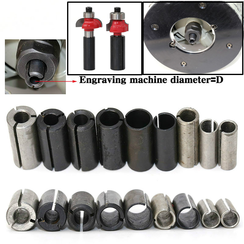 1pcs High Precision Engraving Bit Router Adapter Chuck Collet Shank CNC Router Tool Adapters Holder 8-6.35/ 8-6/ 12.7-8/6