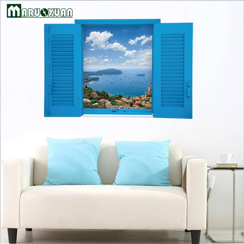 blue office decor. modren decor maruoxuan new beautiful sea blue sky window view 3d wall stickers  scenery living room office home decor intended
