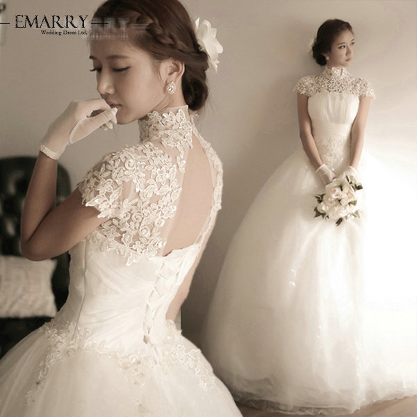 4129103e877c6 YSZ300 Romantic Organza Ball Gown Wedding Dress Vintage High Neck Short  Sleeve Appliques Lace Up Hollow Back Bridal Gowns