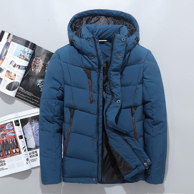 fe0d403b1 Winter Hooded Duck Down Jackets Mens Warm Thick Quality Down Coats ...