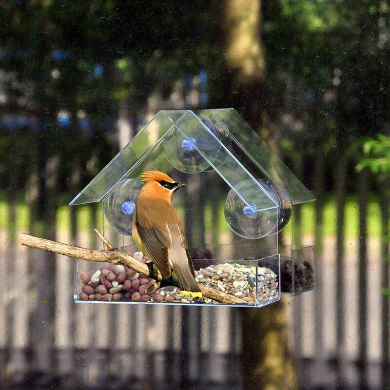 Прозрачное стеклянное для окон просмотра кормушка для птиц отель Таблица семян арахиса висит всасывания Alimentador адсорбции Дом тип кормушка