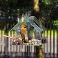 Fenêtre En Verre transparent De mangeoire pour oiseaux de Table D'hôtel Graine D'arachide Suspendu D'aspiration Alimentador D'adsorption Maison Type mangeoire pour oiseaux