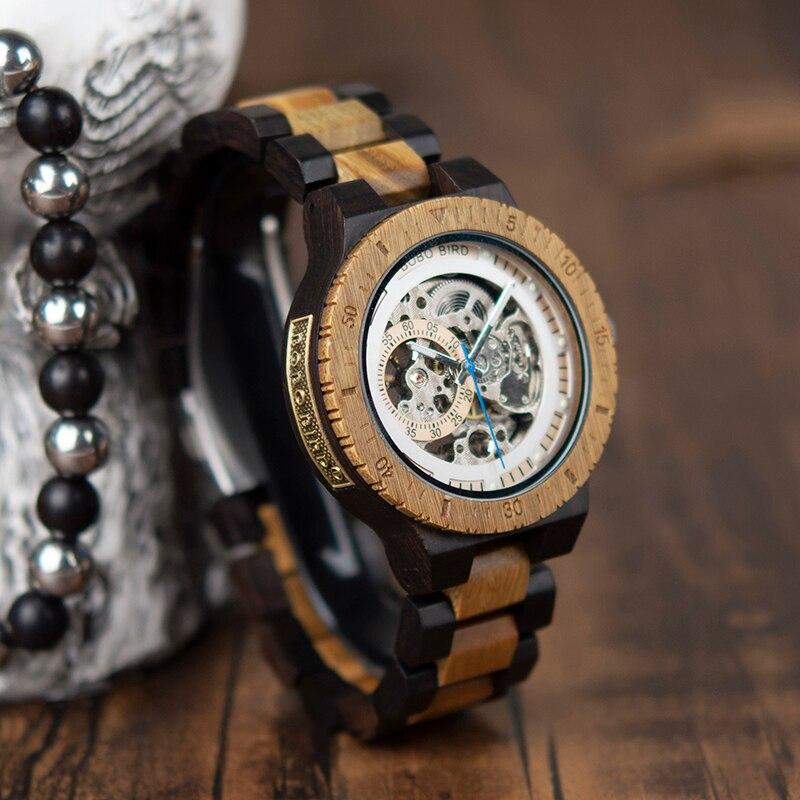 BOBO BIRD montre mécanique en bois hommes de luxe Design rétro avec étiquette en or à côté de la montre-bracelet automatique et multifonctionnelle - 3