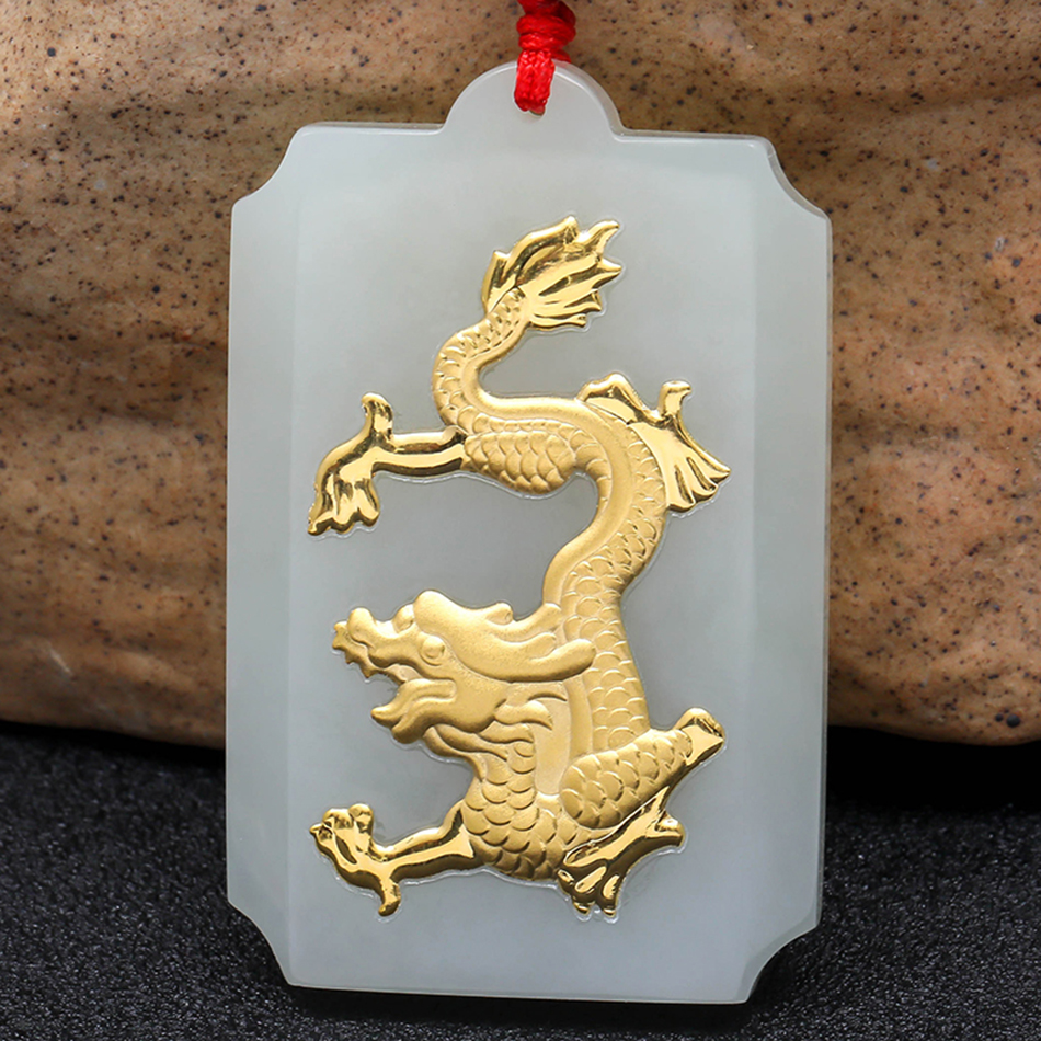 Exquisite Hetian Jade Pendant Fashion Gold Jade Dragon Necklace Pendant Rectangular Jade Card Birthday Gift For Women & Men 8689 natural jadeite dragon brand lace jade pendant zodiac dragon transshipment yu pei jade pendant necklace for women and men