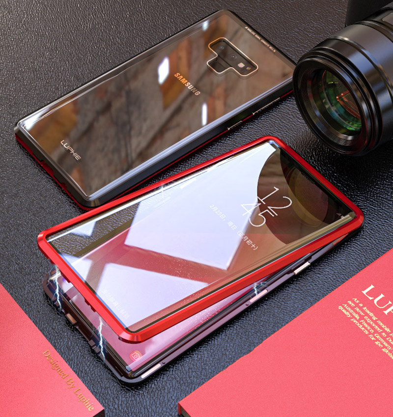 Luxury 360 Double sided front+back glass Magnetic case for samsung galaxy s9 plus note 9 Aluminum metal magnet case cover coque  (8)