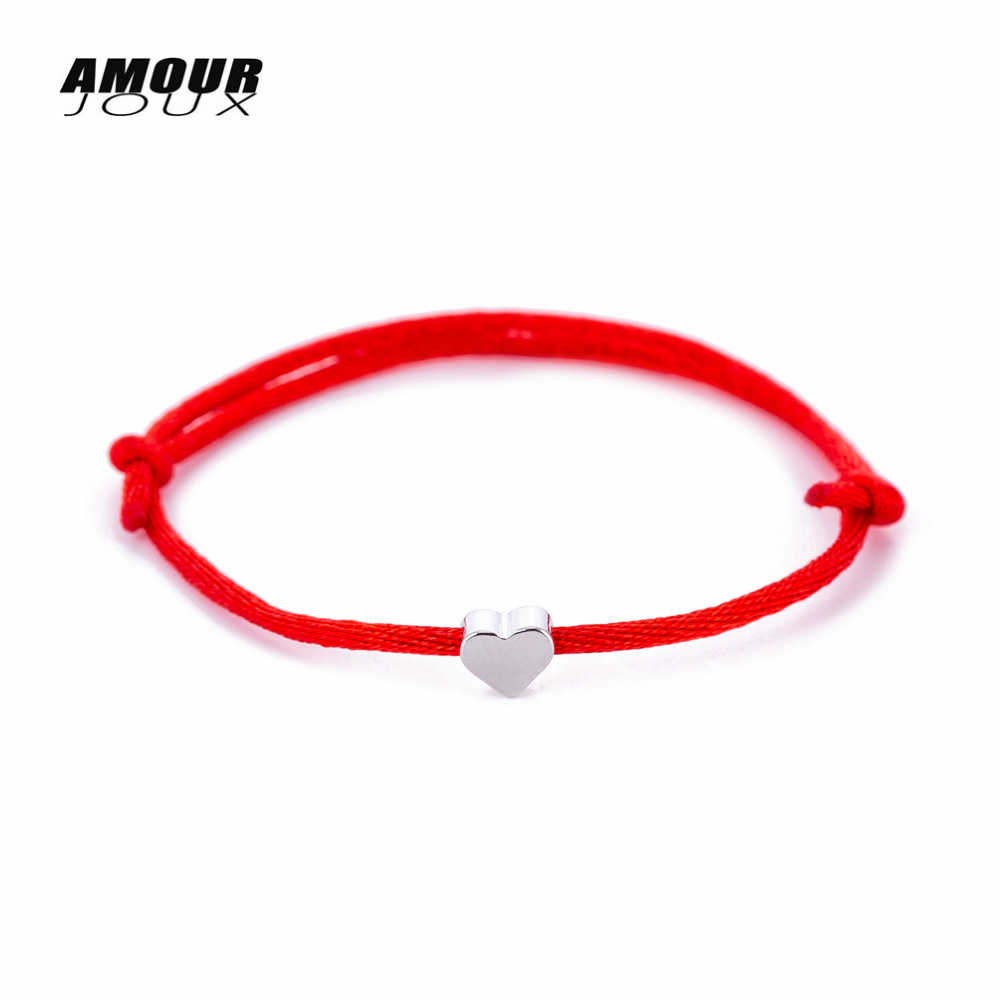 Handmade Red Rope String Charm Bracelet For Women Men Hand Braided Silver Color Heart Charm Red Thread Rope Jewelry