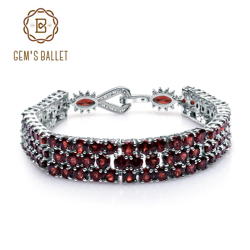 GEM S BALLET 30 80Ct Natural Red Garnet Gemstone Bracelet Genuine 925 Sterling Silver Bracelets Bangles