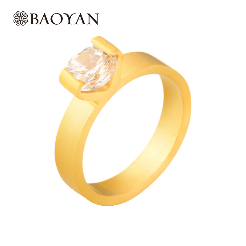 Fashion Crystal Ring For Women Plated Gold Ring For Ladies Hot Sale Stainless Steel Gold Ring For Women bague Wedding Ring