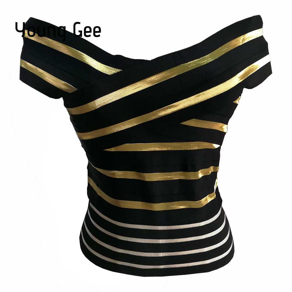 6ff1446bf40 Young Gee 2019 New Sexy Women s Summer Slash Neck Crop Top Elastic Bandage  Stretch Striped Tight