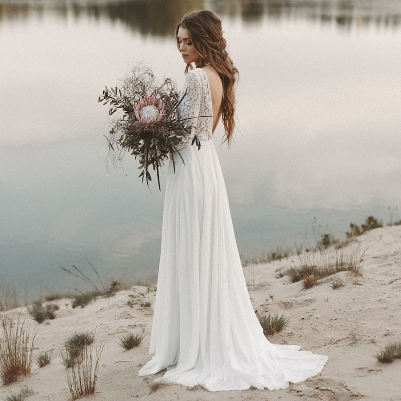 Simple Double V-neck Long Sleeve Wedding Dresses Chiffon Beach Bridal Gown Vestido De Novia Sexy Back Lace Robe De Mariage