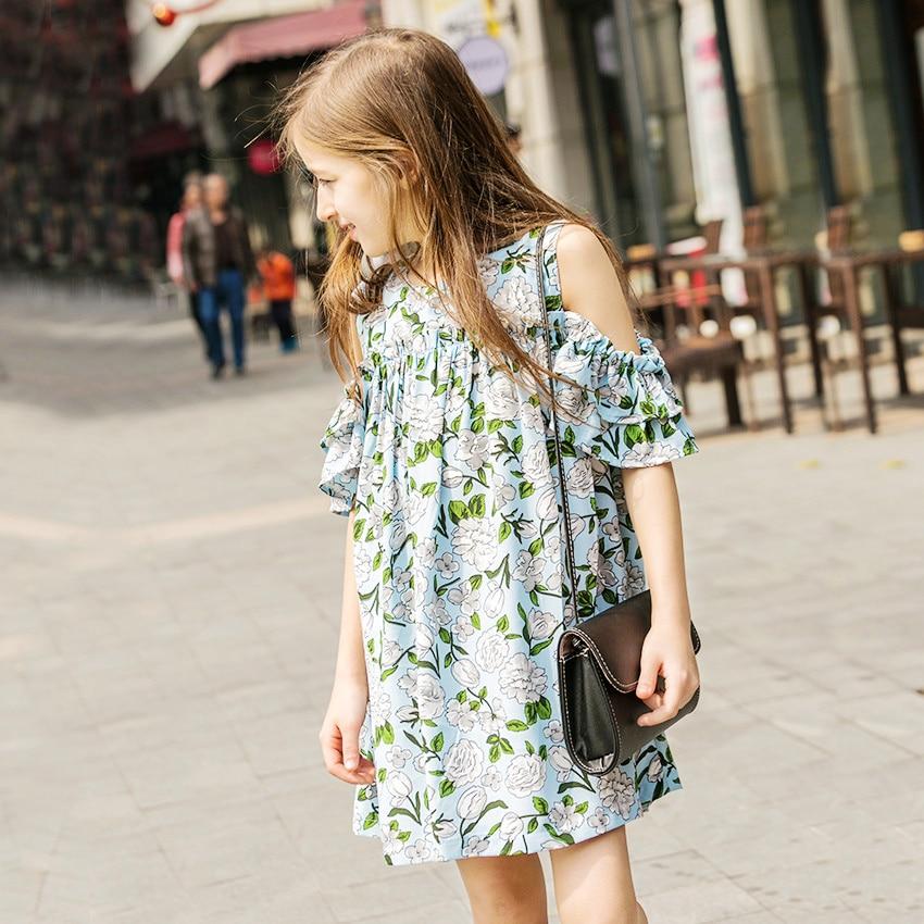 где купить teen girl floral chiffon dress kids print dresses summer 2018 big girls clothing teenage dresses size 4 6 7 8 9 11 12 14 15 year по лучшей цене