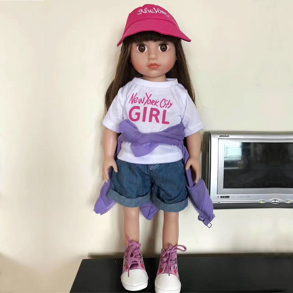 Baby Dolls Vip Us 50 39 20 Off 18inches 45cm Silicone Vinyl Handmade Standing American Reborn Baby Little Girl Doll Anatomically Correct In Dolls From Toys