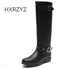 HXRZYZ женщин дождь сапоги женский черный плюс бархат верхом сапоги зима моды молния скольжения устойчивостью водонепроницаемый держать теплую обувь