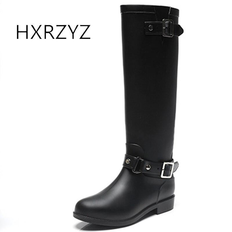 HXRZYZ women rain boots female black plus velvet riding boots winter fashion zipper slip-resistant waterproof keep warm shoes hxrzyz big size rain boots new fashion non slip rubber boots waterproof fishing boots in the tube rain shoes women
