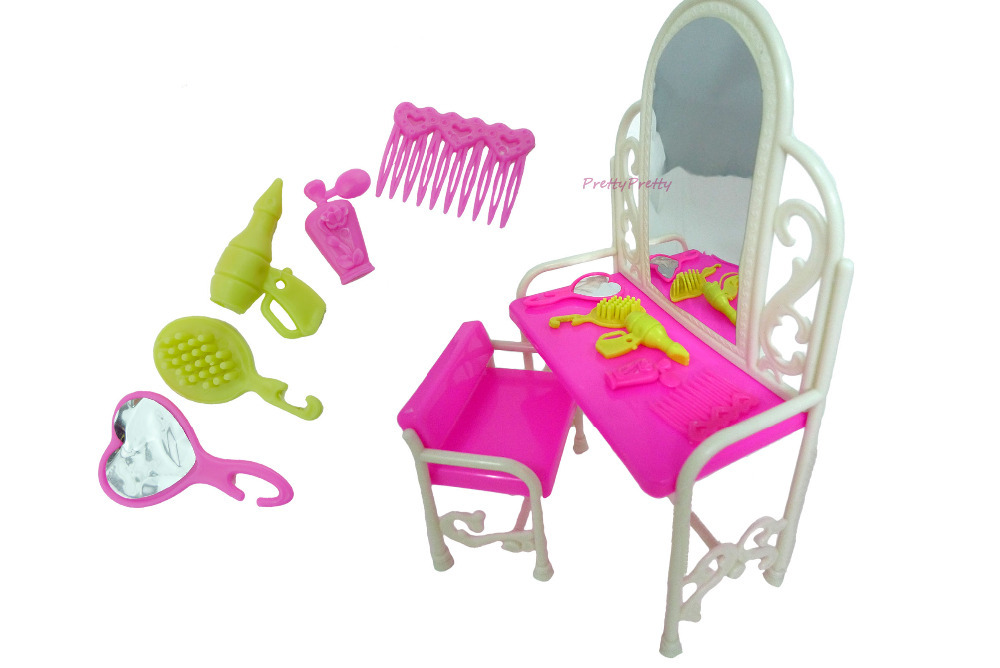 One Set Princess Doll ashion furniture dresser girls birthday gift dresing table For barbie doll accessoriesb