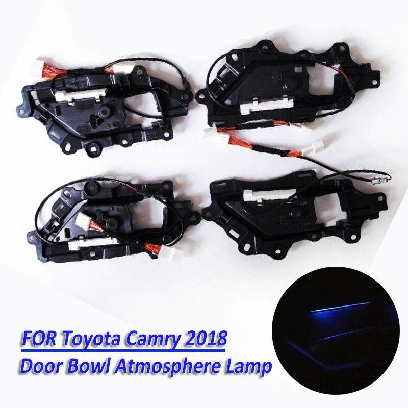 4 pièces/ensemble bleu glace LED voiture porte intérieure bol lumière atmosphère spéciale lampe décorative pour Toyota Camry 2018