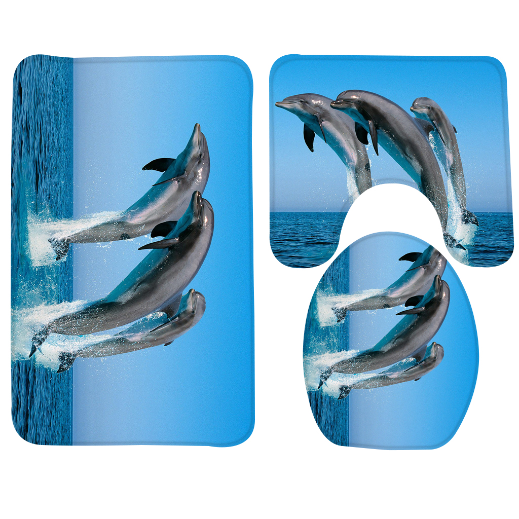 3 pcs Banho Conjunto Tapete Animais Golfinho Saltando Banheiro Tapete Antiderrapante Chuveiro Tapete Tapete de Banho