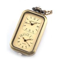 Classic Retro Brons Rechthoek Dial Dual Tijdzone Beweging Pocket horloge Mannen Dame Sieraden Horloges Fob Chain Reizen Gift/WPK040