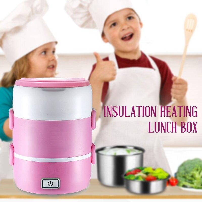 Мини рисоварка Отопление Ланч Бокс электрическая плита кухня Отопление еда Портативный 2-3 слоя многофункциональный
