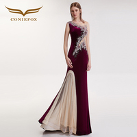 CONIEFOX 32109 Sexy Slim chapel train mermaid Ladies Red wine elegance backless prom dresses party evening dress gown long new