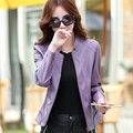 2016 otoño nueva moda de ropa de cuero femenina del diseño corto slim stand collar de cuero escudo chaqueta de la motocicleta femenina