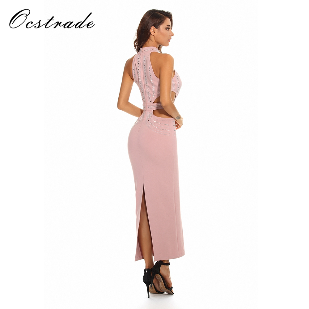Ocstrade 2017 Runway Womens Fashion Pink Luxury Crystal Dress Sexy Long  Summer Bodycon Party Dress-in Dresses from Women s Clothing   Accessories  on ... c3764ec709d4