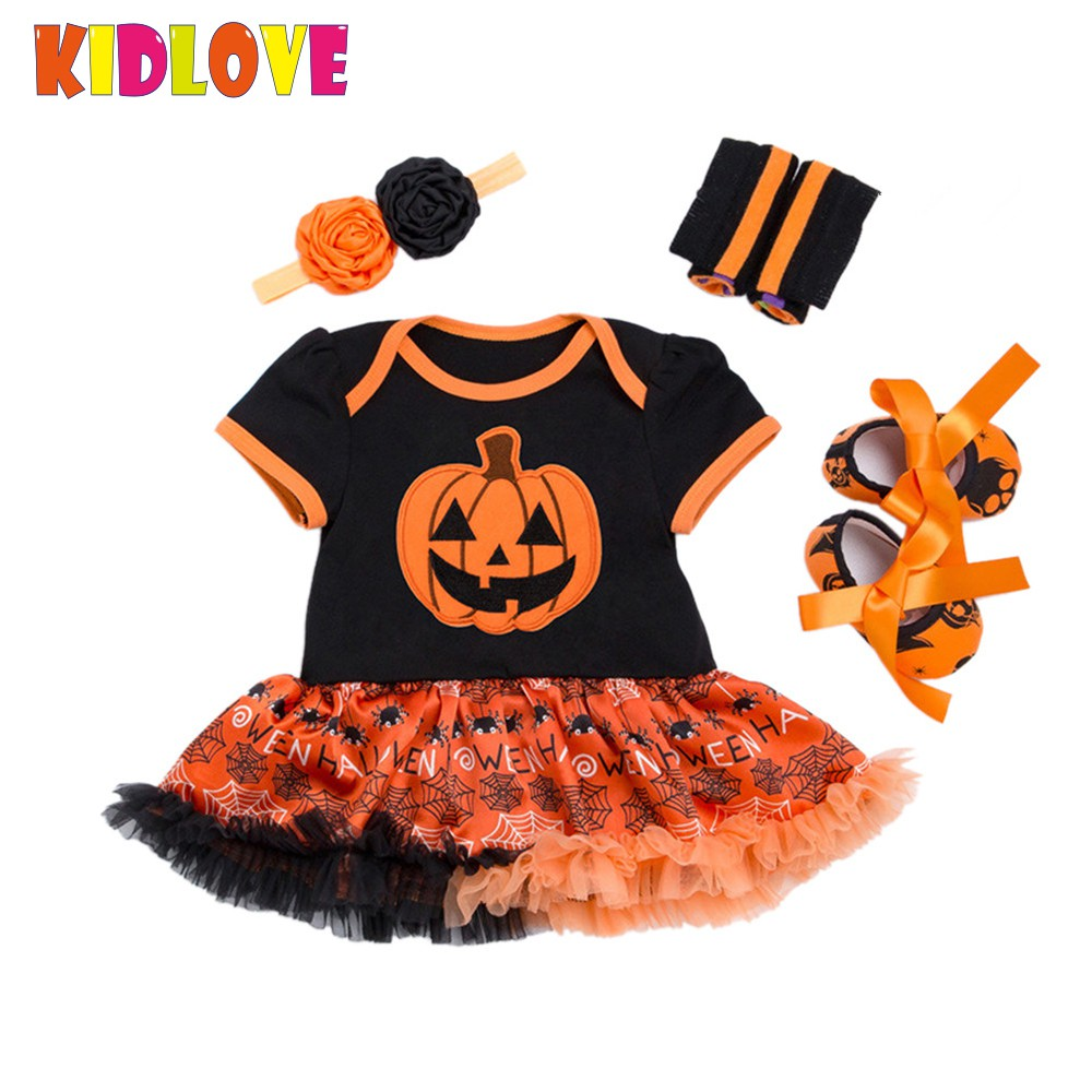KIDLOVE Halloween Baby Girls Clothes Hot Sale Pumpkin Tutu Rompers Headband Shoes Leggings 4pcs Set Toddler Party Costume ZK30 bolsas femininas 2016 designer handbags high quality casual canvas bag women handbags sac femme tote ladies shoulder hand bag