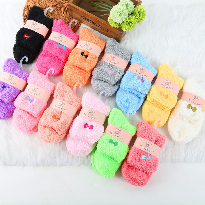 Coral Fleece Women Warm Socks Soft Candy Color Floor Socks Winter Thicken Bows Sock High Elastic Comfortable Lady Home Clothing