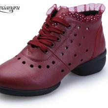 Adult Genuine Leather Sneakers Increased Cowhide Jazz Modern Square Dance Shoes