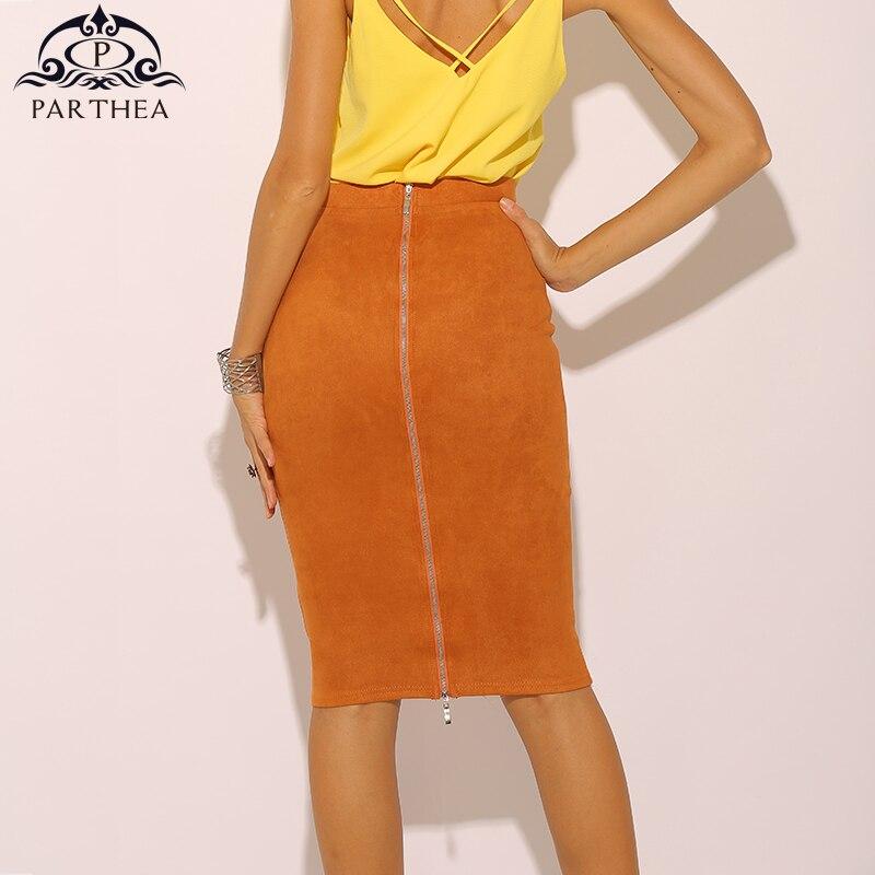 Parthea Pencil Skirts Womens High Waist Skirt Sexy Suede Long Skirt Midi Plus Size Winter Bodycon Skirt Leather Saia Midi Saias