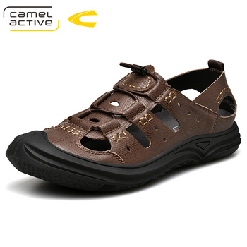 Camel Active 2019 New High Quality Summer Men Sandals Split Leather Comfortable Gladiator Men Shoes Fashion Casual Shoes 19355