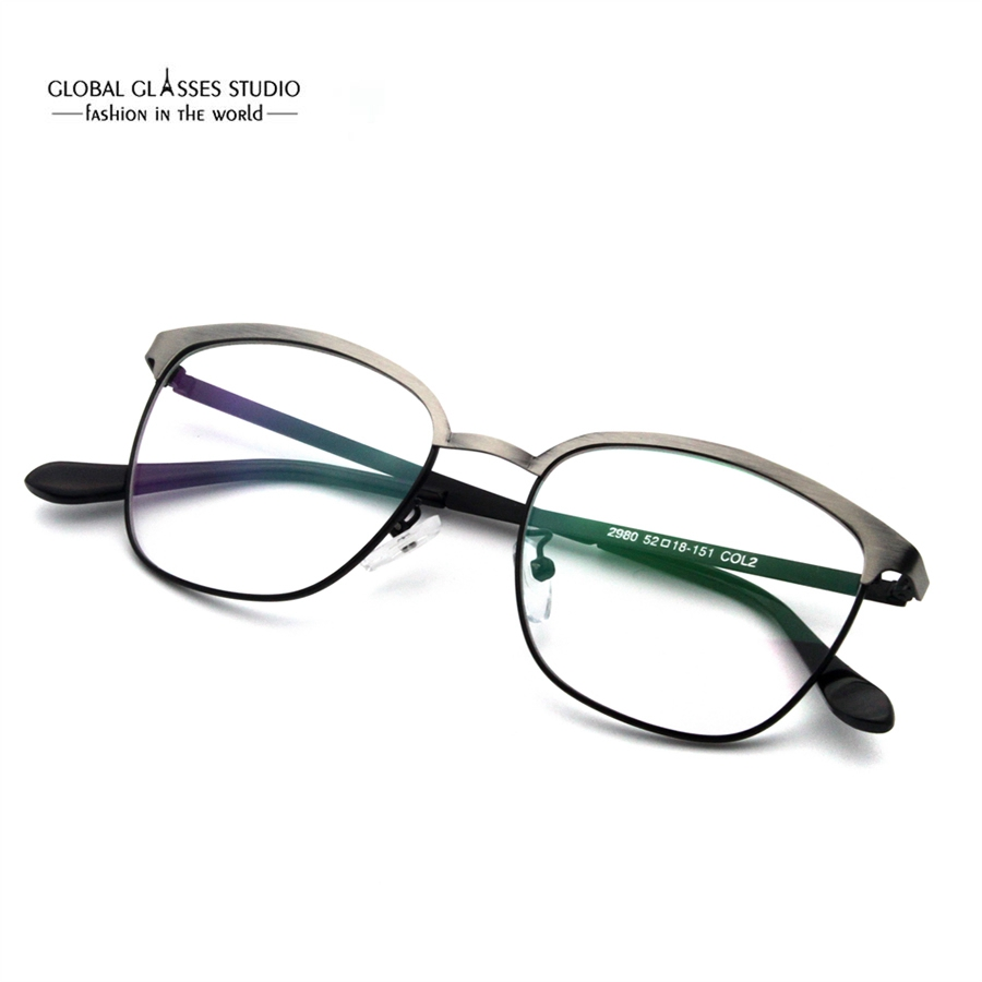 1056dc5b733 Latest Design Eyebrow Metal Glasses Brushed Color Precious Metal Optical  Frame Business Men Comfortable Spectacle Frame RSG028-in Eyewear Frames  from ...