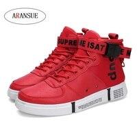ARANSUE Новый Для мужчин высокого Вулканизированная обувь мода пряжки дизайн кроссовки корейской версии Повседневное мужские туфли размер 39-44