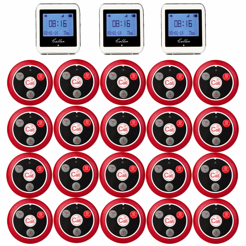 RETEKESS Wireless Cameriere Sistema di Chiamata Per Il Servizio Ristorante Sistema Cercapersone Guest Pager 3 Orologio Ricevitore + 20 Pulsante di Chiamata F3288B