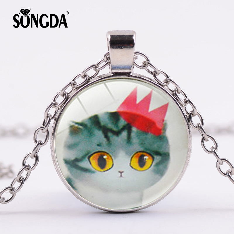SONGDA Cute Crown Cat Big Eyes Necklace Lovely Cat Cartoon Animal Pendant For Women Girl Kids Christmas Birthday Fashion Jewelry thumbnail