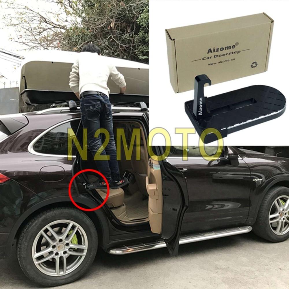 CNC Aluminum Car Door Step Foldable Door Hook Pedal Rooftop Roof-Rack Assistance Footrest Doorstep For SUV Jeep RV