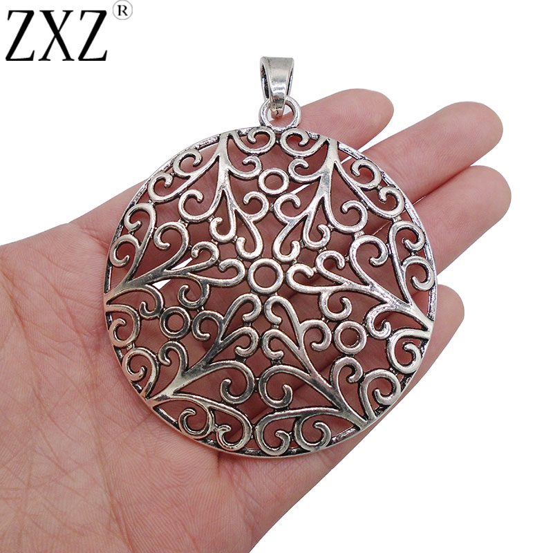 2Pcs Antique Silver Open Filigree Heart Charms Pendant Tray 8mm Round Cameo Base
